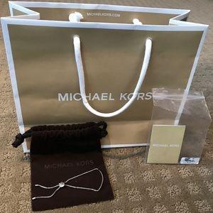 NWT Michael Kors Silver Pave Slider Bracelet